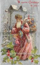 hol016098 - Santa Claus Postcard Old Vintage Christmas Post Card