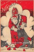 hol016101 - Santa Claus Postcard Old Vintage Christmas Post Card