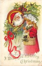 hol016109 - Santa Claus Postcard Old Vintage Christmas Post Card