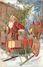 hol016110 - Santa Claus Postcard Old Vintage Christmas Post Card