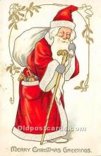 hol016111 - Santa Claus Postcard Old Vintage Christmas Post Card