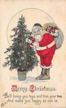 hol016126 - Santa Claus Postcard Old Vintage Christmas Post Card