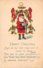 hol016128 - Santa Claus Postcard Old Vintage Christmas Post Card