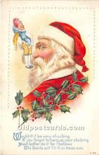 hol016148 - Santa Claus Postcard Old Vintage Christmas Post Card