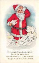 hol016155 - Santa Claus Postcard Old Vintage Christmas Post Card