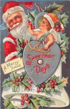 hol016161 - Santa Claus Postcard Old Vintage Christmas Post Card