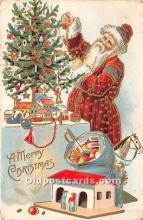 hol016186 - Santa Claus Postcard Old Vintage Christmas Post Card