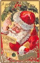 hol016192 - Santa Claus Postcard Old Vintage Christmas Post Card