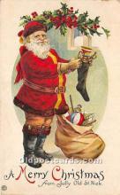 hol016200 - Santa Claus Postcard Old Vintage Christmas Post Card