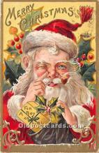 hol016201 - Santa Claus Postcard Old Vintage Christmas Post Card