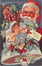 hol016204 - Santa Claus Postcard Old Vintage Christmas Post Card
