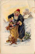 hol016211 - Santa Claus Postcard Old Vintage Christmas Post Card