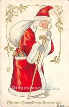 hol016294 - Santa Claus Postcard Old Vintage Christmas Post Card