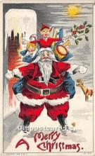 hol016314 - Santa Claus Postcard Old Vintage Christmas Post Card