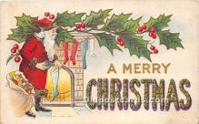 hol016348 - Santa Claus Postcard Old Vintage Christmas Post Card