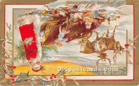hol016375 - Santa Claus Postcard Old Vintage Christmas Post Card