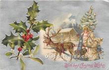 hol016384 - Santa Claus Postcard Old Vintage Christmas Post Card
