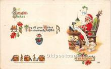 hol016401 - Santa Claus Postcard Old Vintage Christmas Post Card