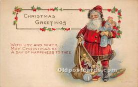 hol016420 - Santa Claus Postcard Old Vintage Christmas Post Card