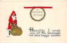 hol016428 - Santa Claus Postcard Old Vintage Christmas Post Card