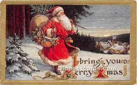 hol016441 - Santa Claus Postcard Old Vintage Christmas Post Card