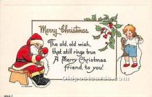 hol016447 - Santa Claus Postcard Old Vintage Christmas Post Card