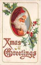 hol017001 - Santa Claus Postcard Old Vintage Christmas Post Card