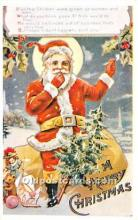 hol017008 - Santa Claus Postcard Old Vintage Christmas Post Card