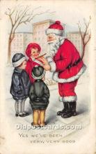 hol017010 - Santa Claus Postcard Old Vintage Christmas Post Card