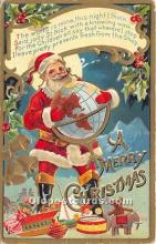 hol017026 - Santa Claus Postcard Old Vintage Christmas Post Card