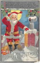 hol017040 - Santa Claus Postcard Old Vintage Christmas Post Card