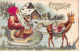 hol017050 - Santa Claus Postcard Old Vintage Christmas Post Card
