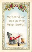 hol017060 - Santa Claus Postcard Old Vintage Christmas Post Card