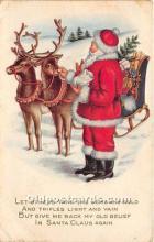 hol017061 - Santa Claus Postcard Old Vintage Christmas Post Card