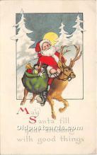 hol017062 - Santa Claus Postcard Old Vintage Christmas Post Card