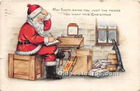 hol017072 - Santa Claus Postcard Old Vintage Christmas Post Card