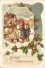 hol017074 - Santa Claus Postcard Old Vintage Christmas Post Card