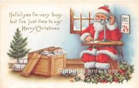hol017078 - Santa Claus Postcard Old Vintage Christmas Post Card