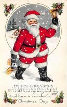 hol017079 - Santa Claus Postcard Old Vintage Christmas Post Card