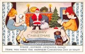 hol017080 - Santa Claus Postcard Old Vintage Christmas Post Card