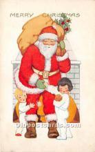 hol017093 - Santa Claus Postcard Old Vintage Christmas Post Card