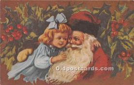 hol017101 - Santa Claus Postcard Old Vintage Christmas Post Card