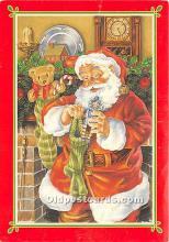 hol017104 - Santa Claus Postcard Old Vintage Christmas Post Card