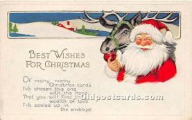 hol017112 - Santa Claus Postcard Old Vintage Christmas Post Card