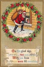 hol017114 - Santa Claus Postcard Old Vintage Christmas Post Card