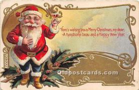 hol017115 - Santa Claus Postcard Old Vintage Christmas Post Card