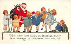 hol017122 - Santa Claus Postcard Old Vintage Christmas Post Card