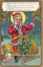 hol017133 - Santa Claus Postcard Old Vintage Christmas Post Card