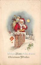 hol017141 - Santa Claus Postcard Old Vintage Christmas Post Card