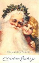 hol017169 - Santa Claus Postcard Old Vintage Christmas Post Card